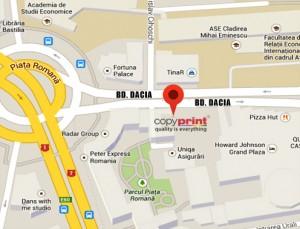 Harta centru de printare Piata Romana